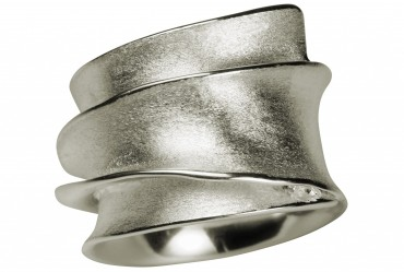 SILBERMOOS Damen Ring eleganter Design Wickelring massiv matt 925 Sterling Silber – Bild 4