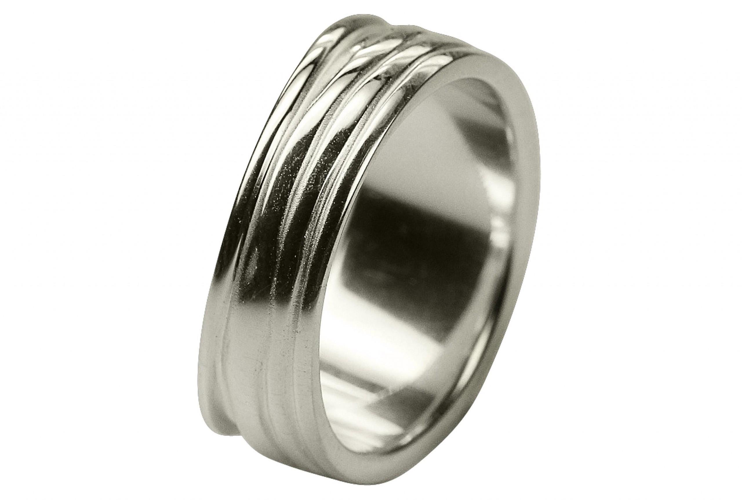 SILBERMOOS Ring Damenring Welle gefaltet Bandring matt glänzend