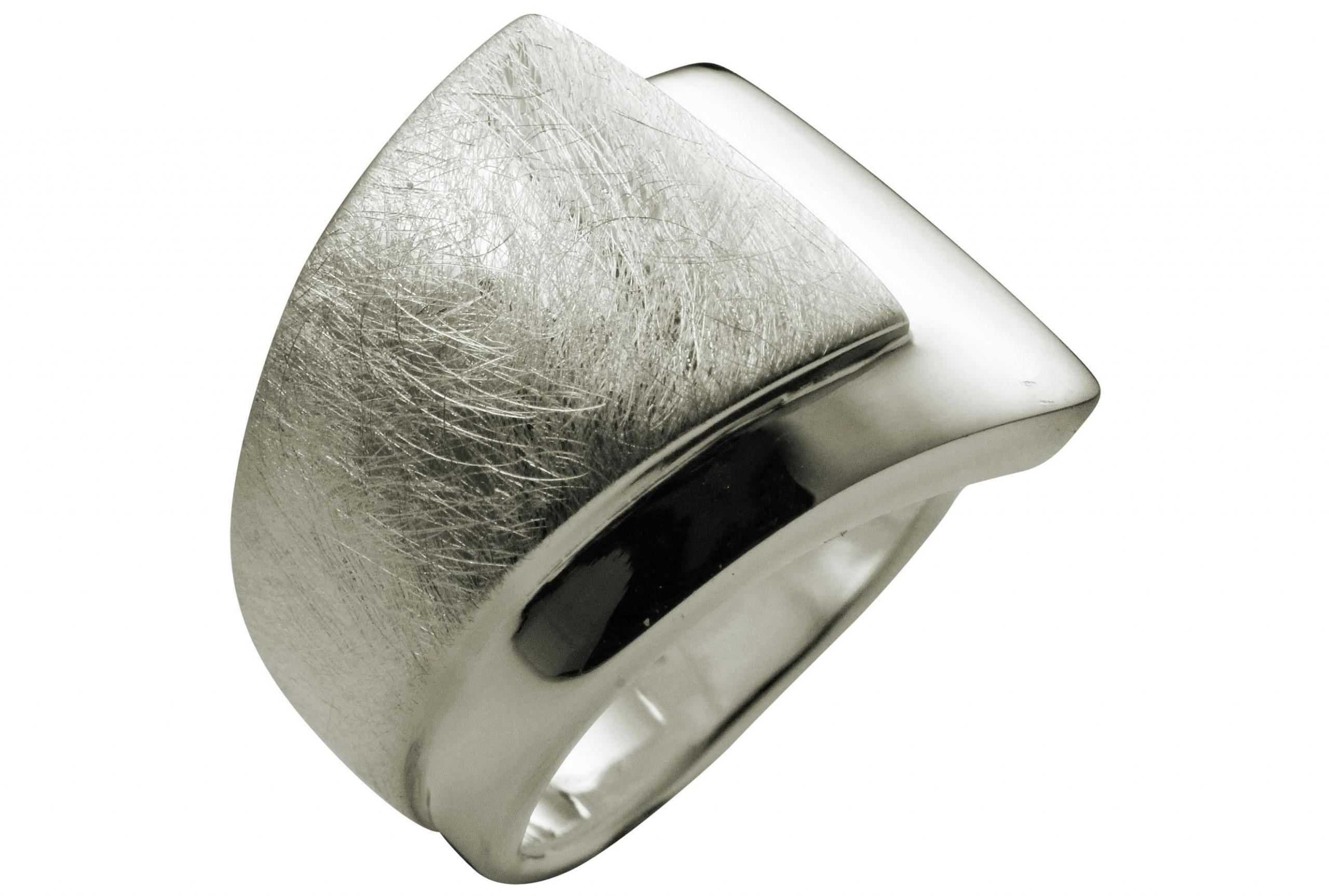 SILBERMOOS Eleganter Damen Ring doppelter Bandring gebürstet