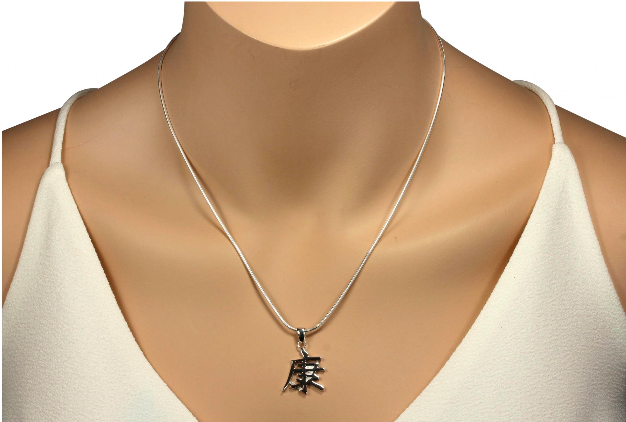 silbermoos anh nger mit kette chinesisches zeichen symbol gesundheit mit schlangenkette 45 cm. Black Bedroom Furniture Sets. Home Design Ideas